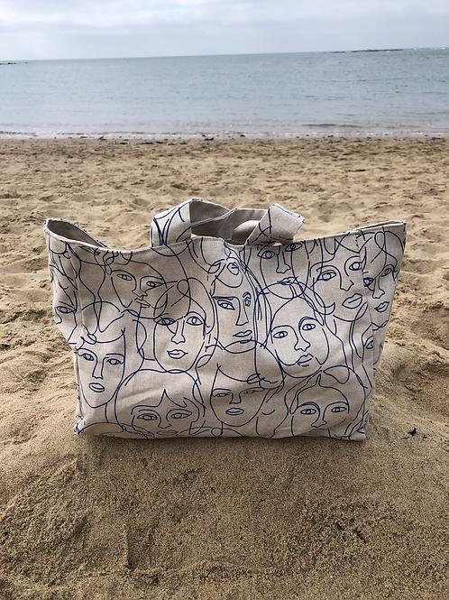 Cabas en toile de coton aspect lin motifs têtes bleues abstraites