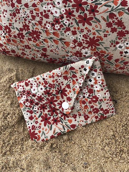 Pochette enveloppe en coton aspect lin fleuri