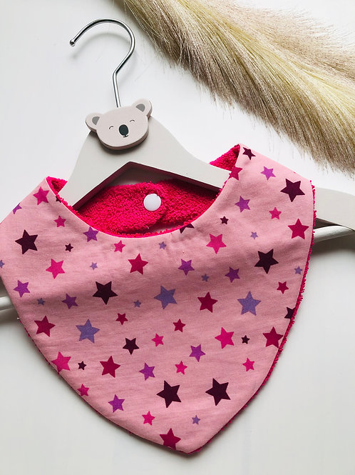 Bavoir/bandana en coton et éponge motifs étoiles fushia