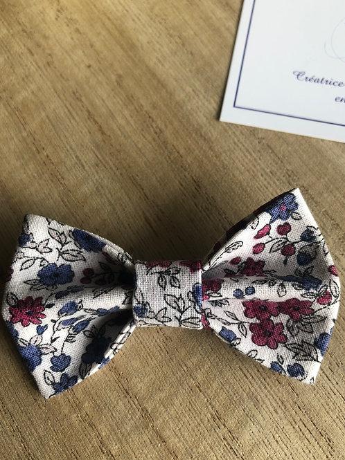 Barrette en coton motifs fleuris bordeaux et bleu