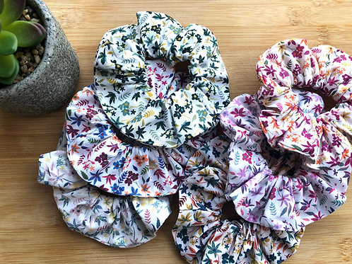 Chouchou en popeline de coton motifs fleurs