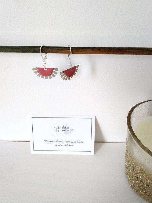 Boucles d'oreilles éventails argenté et sequin vieux rose