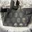 Thumbnail: Cabas en toile de coton motifs têtes de mort dorées sur fond gris foncé