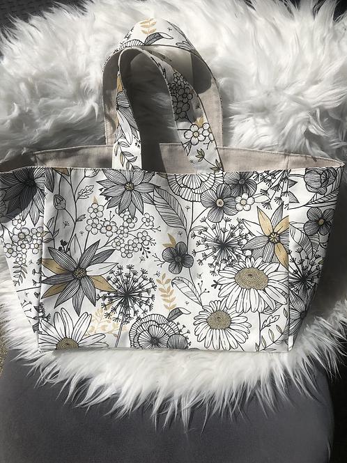 Cabas en toile de coton motifs fleurs doré, blanc et noir