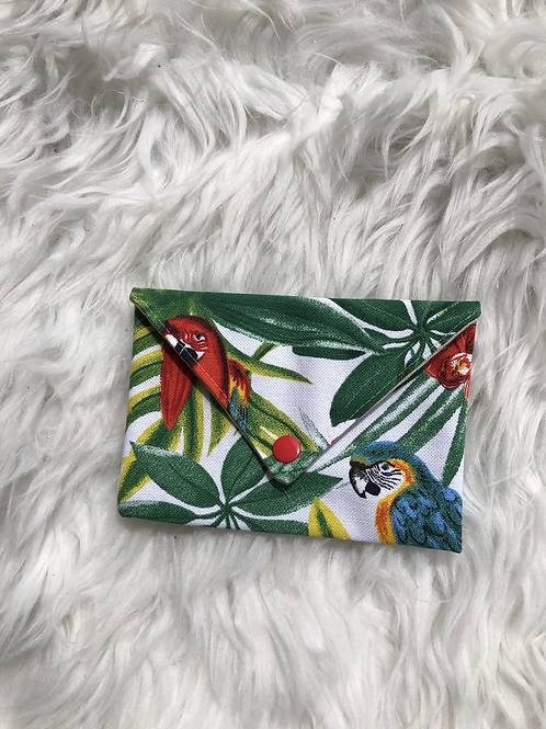 Pochette enveloppe en toile de coton motifs perroquets tropicaux