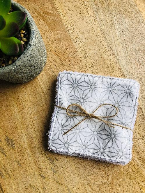 Lingettes en coton et éponge bambou motifs géométriques