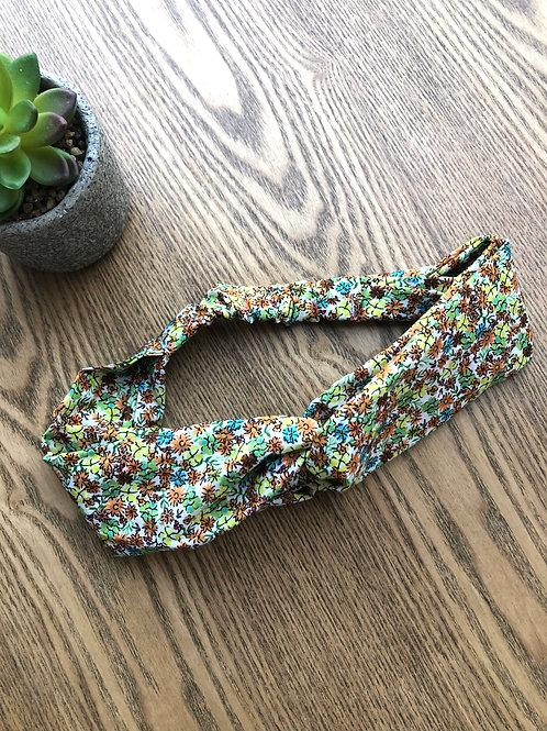 Headband / bandeau en popeline de coton fleuri ton vert et orange