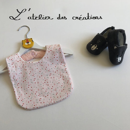 Bavoir en coton et éponge motifs pois rose