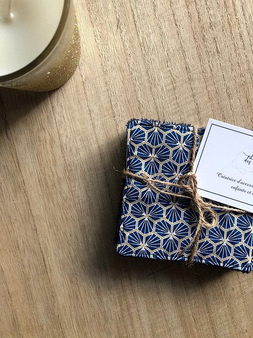 Lingettes en coton et éponge bambou motifs riad bleu