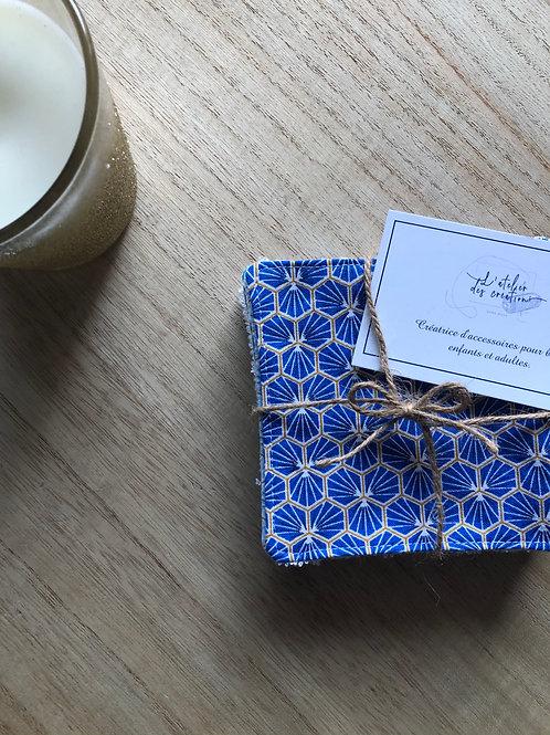 Lingettes en coton et éponge bambou motifs riad bleu électrique