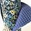 Thumbnail: Essuie tout lavable et réutilisable motif fleuri ton bleu et noir