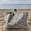 Thumbnail: Cabas en toile de coton aspect lin motifs gris et lin