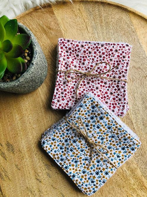 Lingettes en coton et éponge bambou motifs petites fleurs