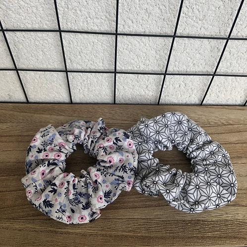 Chouchou en coton motifs fleuris ou géométriques