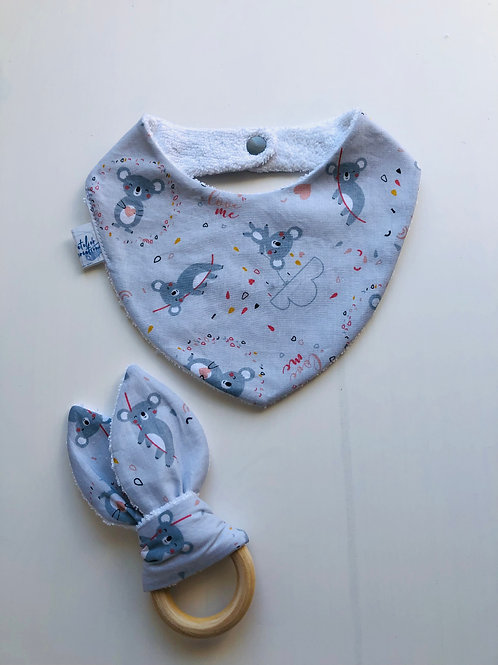 Coffret bandana et anneau de dentition motifs koalas