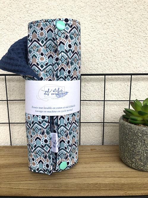 Essuie tout lavable et réutilisable motifs tons bleus