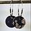 Thumbnail: Créoles argentées avec sequin en tissu et perles miyuki