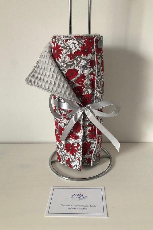 Essuie tout lavable et réutilisable motif fleuri ton rouge/gris