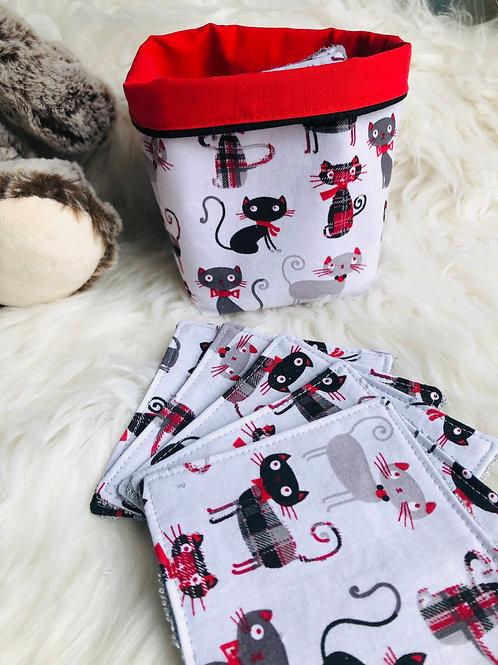 Panière et lingettes en coton et éponge bambou motifs chats