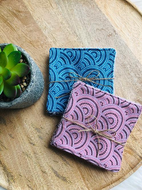 Lingettes en coton et éponge bambou motifs ronds