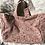 Thumbnail: Cabas en toile de coton aspect lin motifs fleuris sur fond rose