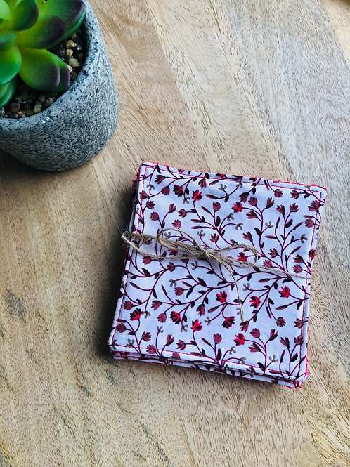 Lingettes en coton et éponge bambou motifs fleurs rouge