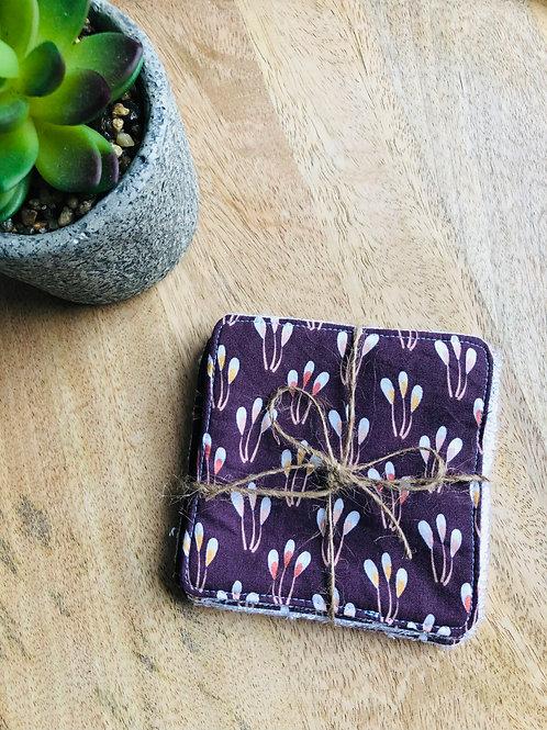 Lingettes en coton et éponge bambou motifs pistils violet