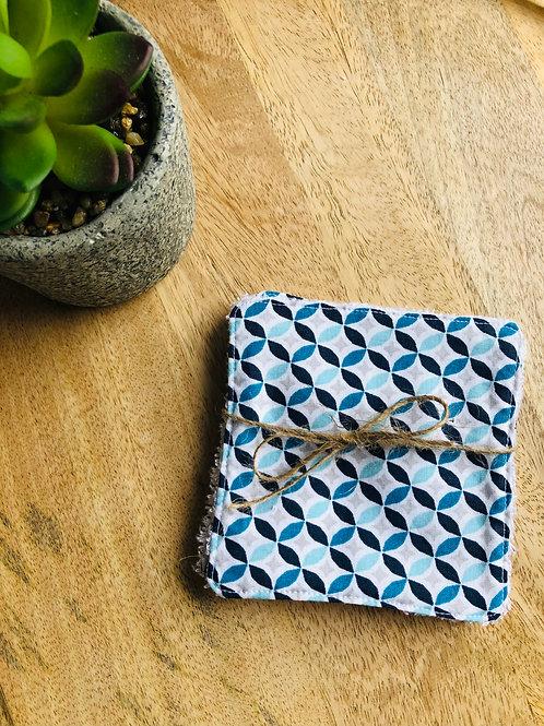 Lingettes en coton et éponge bambou motifs bleus