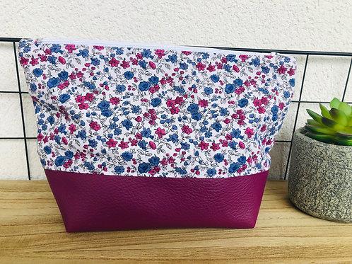 Trousse pochette en coton fleuri et simili cuir