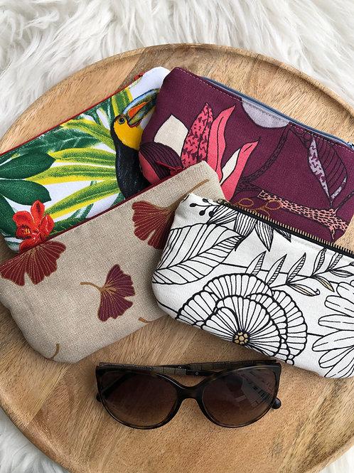 Trousse / étui à lunettes en coton motifs multicolores