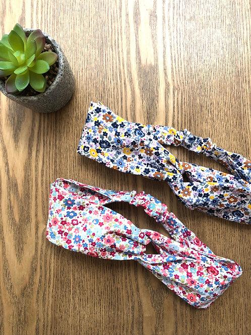 Headband / bandeau en coton fleuris