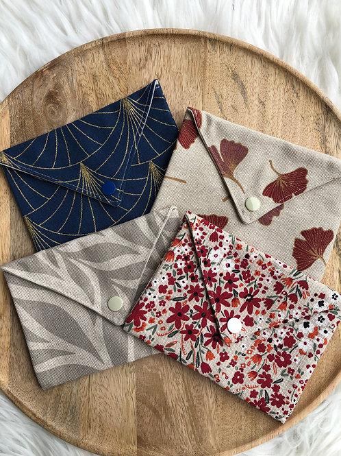 Pochette enveloppe en toile de coton à motifs