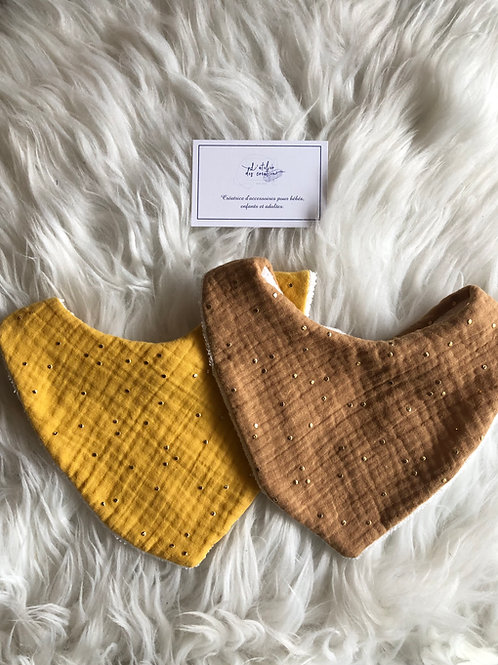Bavoir/bandana en double gaze de coton et éponge