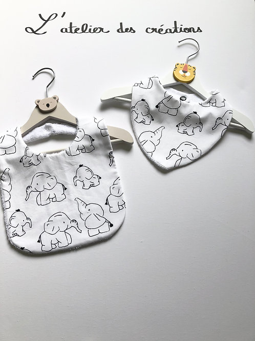 Duo bavoir / bandana en coton et éponge motifs éléphants noirs