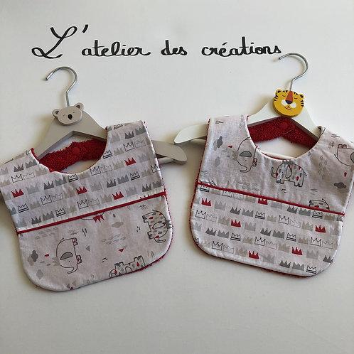 Duo de bavoirs en coton et éponge rouge