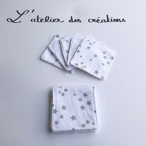 Lingettes en coton et éponge bambou motifs étoiles argentées