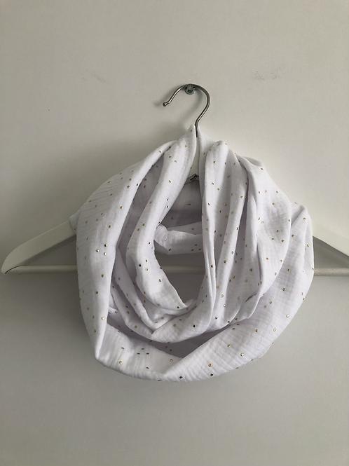 Tour de cou / snood en double gaze de coton blanc