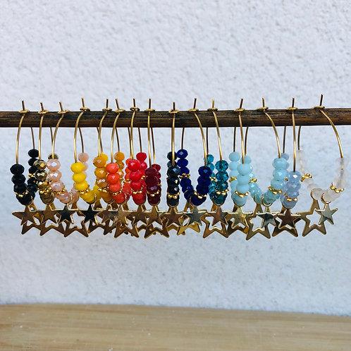 Créoles dorées perles facettes et breloque étoile dorée