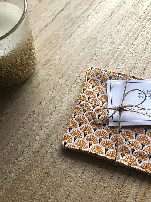 Lingettes en coton et éponge bambou motifs éventails jaune oranger
