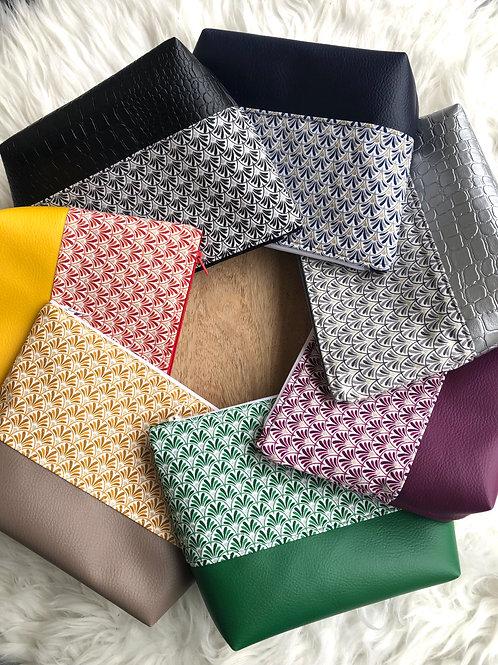 Trousse pochette en coton motifs éventails et simili cuir