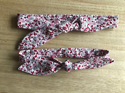 Bandeau à nouer en tissu motifs fleuris bordeaux et rose