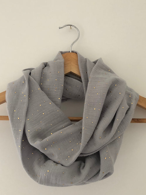 Tour de cou / snood en double gaze de coton gris clair