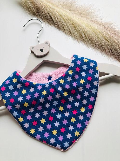 Bavoir/bandana en coton et éponge motifs étoiles multicolores