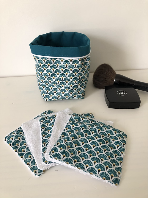 Panière et lingettes en coton et éponge bambou motifs éventails bleu canard