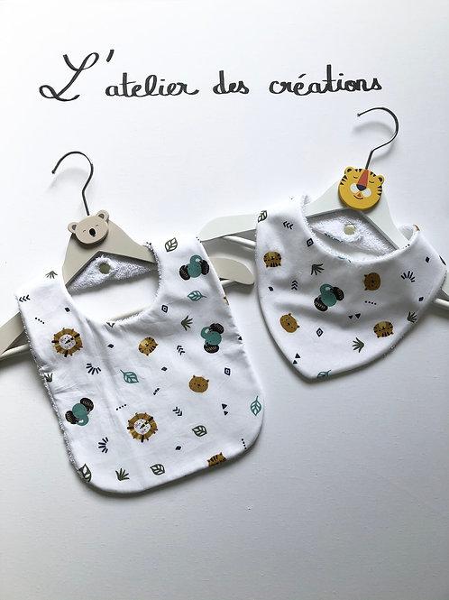 Duo bavoir / bandana en coton et éponge motifs animaux de la jungle