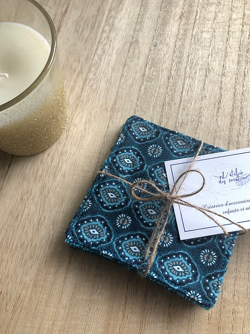 Lingettes en coton et éponge bambou motifs turquoise et bleu