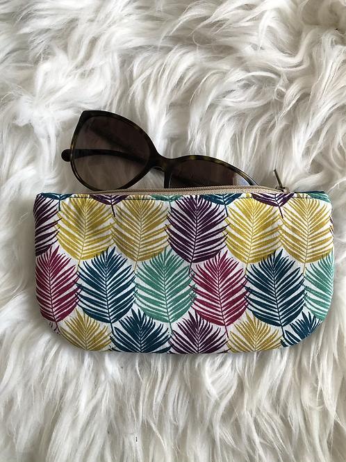 Trousse / étui à lunettes en coton feuilles multicolores
