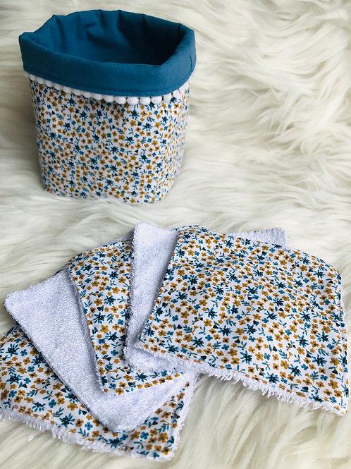 Panière et lingettes en coton et éponge bambou motifs petites fleurs