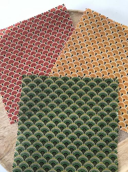 Bee wrap/ film alimentaire réutilisable motifs éventails
