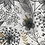 Thumbnail: Cabas en toile de coton motifs fleurs doré, blanc et noir